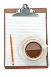 Coffee cup and Clipboard Royalty Free Stock Photo