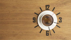 Coffee cup with clock concept design background. High-resolution coffee and time concept 3D rendering background for your project Stock Photos