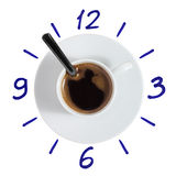 Coffee cup clock with painted dial Royalty Free Stock Image
