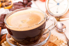 Coffee cup and clock Stock Photography