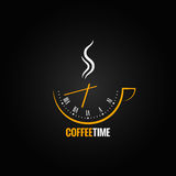 Coffee cup clock time concept background Royalty Free Stock Image