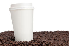 Coffee Cup Close-up on Coffee Beans Royalty Free Stock Photography