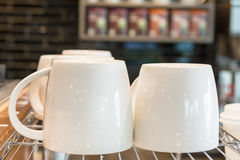 Coffee Cup. Close up white coffee cup in the coffee shop Stock Photography