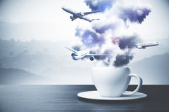 Coffee cup with clouds and airplanes. Close up of abstract coffee cup with clouds and airplanes. Travel concept. Landscape background. 3D Rendering royalty free illustration