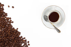 Coffee Cup with Coffe Beans isolated on White Stock Images
