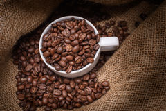 Coffee cup with coffee bag Royalty Free Stock Photos
