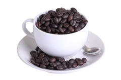 Coffee cup with coffee bean with clipping path Royalty Free Stock Photography