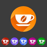 Coffee cup coffee bean icon flat web sign symbol logo label set Royalty Free Stock Photography