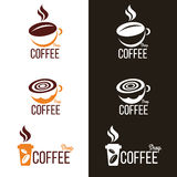 Coffee cup and Coffee bean logo vector set design Stock Photo