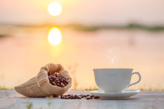 Coffee cup and coffee bean Stock Image