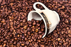 Coffee cup in coffee beans. A small coffee cup in a seemingly endless supply of coffee Royalty Free Stock Image