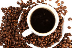 Coffee cup with coffee beans. From top stock photos