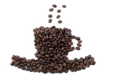 Coffee cup of coffee beans Royalty Free Stock Photography
