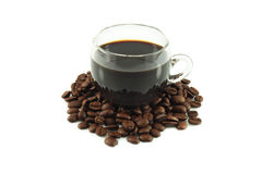 Coffee in cup and coffee beans Stock Image