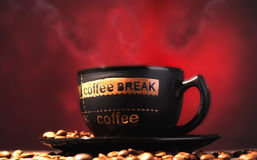 Coffee cup with coffee beans. stock image