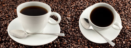 Coffee cup on coffee beans. Background. 2 shot from different angle stock photos