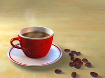 Coffee cup and coffee beans. A cup of coffee and coffee beans. CG illustration Royalty Free Stock Photo