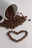 Coffee Cup, Coffee Beans And Heart Stock Photography
