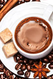 Coffee cup with coffee beans and biscotti isolated Royalty Free Stock Photography