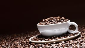 Coffee cup with coffee beans and black background stock photography
