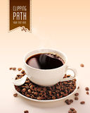 Coffee cup, coffee beans with clipping path Royalty Free Stock Images
