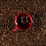 Coffee cup on coffee beans in close up photo. Cup of the coffee relating to coffee beans Stock Photography