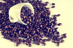 Coffee cup with coffee beans, instagram Stock Image