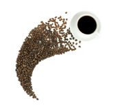 Coffee in a cup and coffee beans isolated on white background Royalty Free Stock Image