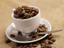 Free Coffee Cup. Coffee Beans On Burlap 2 Royalty Free Stock Photography - 8102637