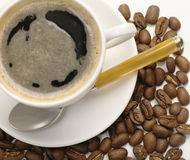 Free Coffee Cup. Coffee Beans On Wite Stock Photo - 8186640