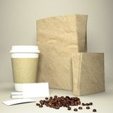 Coffee cup with coffee beans and paper bag Royalty Free Stock Images