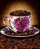 Coffee cup and coffee beans square Stock Images