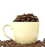 Coffee cup with coffee beans on white Royalty Free Stock Photography
