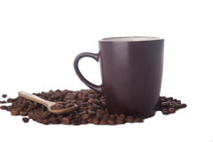 Coffee cup and coffee beans on white royalty free stock photo