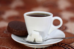 Coffee cup from coffee, cookies, a spoon and sugar Stock Photography