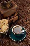 Coffee cup and coffee grains Royalty Free Stock Images
