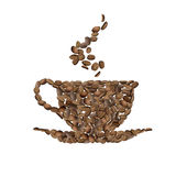 Coffee cup of coffee grains Stock Photo