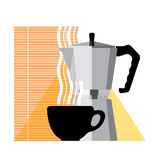 Coffee cup and coffee machine. Home coffee, flat illustration Royalty Free Stock Photography