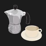 Coffee cup and coffee maker geyser, vector illustration. Coffee cup and coffee maker geyser isolated on black background. Hand drawn sketch. Art vector Royalty Free Stock Images