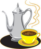 Coffee cup and coffee pot. A vector illustration of a yellow coffee cup and a silver coffee pot on a black tray Royalty Free Stock Images