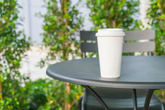 Coffee cup in coffee shop. Hot coffee cup in coffee shop Royalty Free Stock Photos