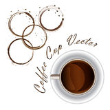 Coffee cup and coffee stains desings background Royalty Free Stock Photo