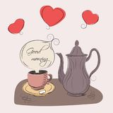 A coffee cup and coffeepot. In graphic style Royalty Free Stock Photography