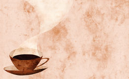 Coffee cup collage. With marbled background, space for copy on the right Royalty Free Stock Photo