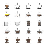Coffee Cup Color Icons Set Of Drink Vector Illustration Style Colorful Flat Icon Stock Images