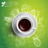 Coffee cup with colored doodles Royalty Free Stock Photography