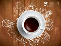 Coffee cup with colored doodles Stock Photos