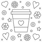 Coffee up. Coloring page. Vector illustration. Coffee cup. Coloring page. Black and white vector illustration Royalty Free Stock Images