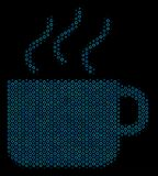 Coffee Cup Composition Icon of Halftone Circles. Halftone Coffee cup composition icon of circle bubbles in blue color tones on a black background. Vector circle Stock Photo