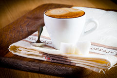 Coffee cup. Composition with white cup of coffee Stock Photography